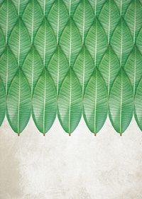 緑の葉っぱが2/3を占めるA4サイズ背景素材
