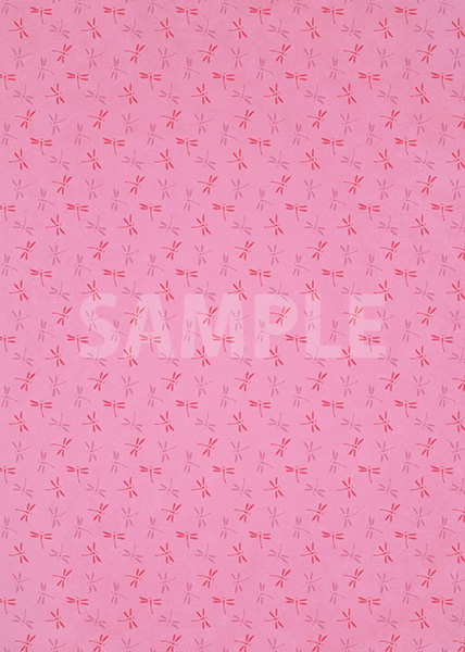 ピンク色の勝ち虫・とんぼ柄、A4サイズ背景素材