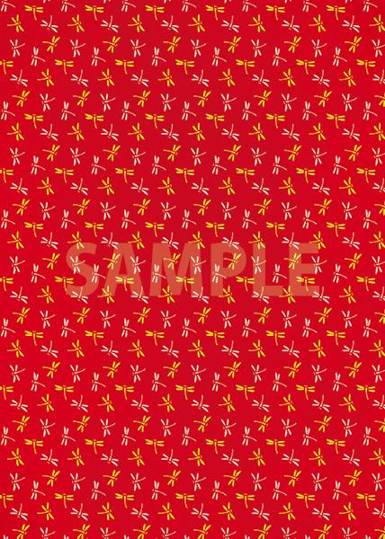 赤色の勝ち虫・とんぼ柄、A4サイズ背景素材