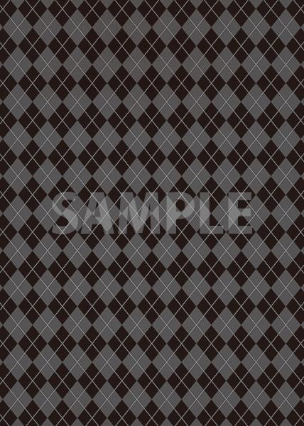 黒いアーガイルチェック柄、A4サイズ背景素材