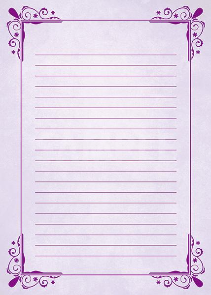 紫色の飾り枠と罫線のA4サイズ背景素材