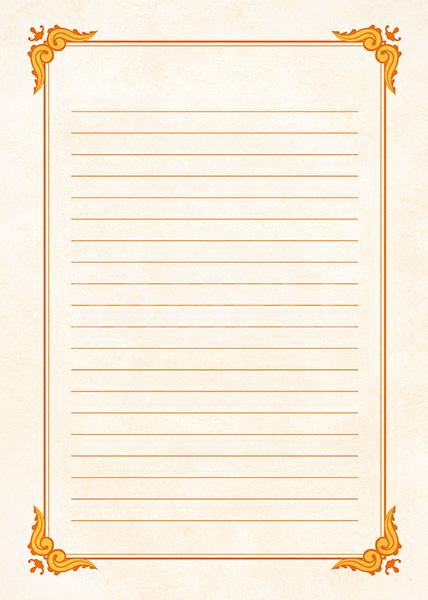 オレンジ色のクラシカルな飾り枠と罫線のA4サイズ背景