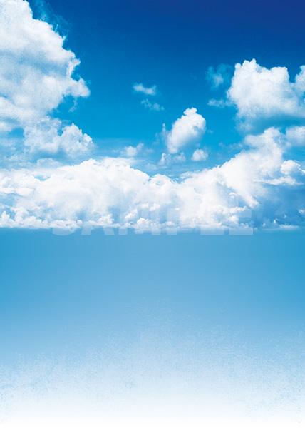 青い空と雲のA4サイズ背景素材
