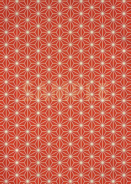 朱色の麻の葉柄・和柄のA4サイズ背景素材