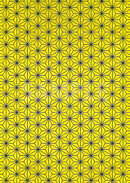 黄色の麻の葉柄・和柄のA4サイズ背景素材