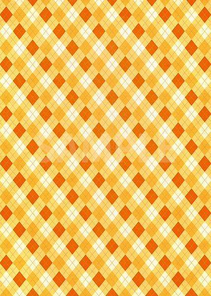オレンジ色のアーガイルチェック柄のA4サイズ背景素材