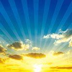 日の出と集中線のA4サイズ背景素材