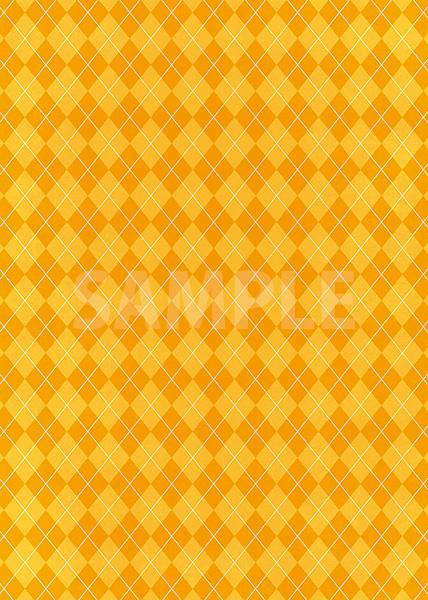 オレンジ色のアーガイルチェック柄、A4サイズ背景素材