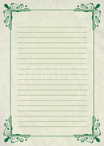 緑の飾り枠と罫線のA4サイズ背景素材