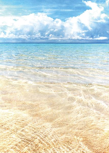 青い空と透き通る海のA4サイズ背景素材データ