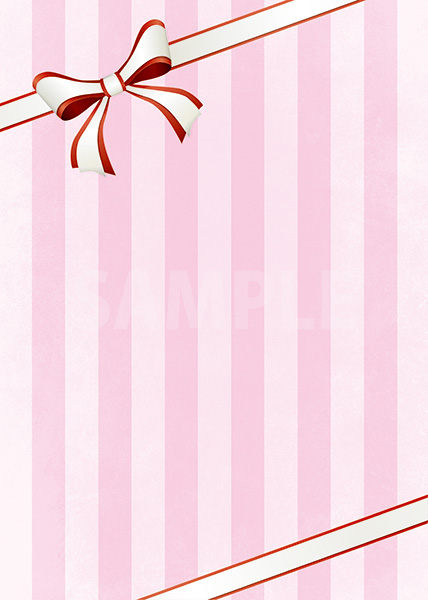 リボンが飾られたピンクストライプのA4サイズ背景素材