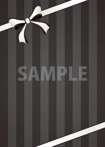 リボンが飾られたブラックストライプのA4サイズ背景素材
