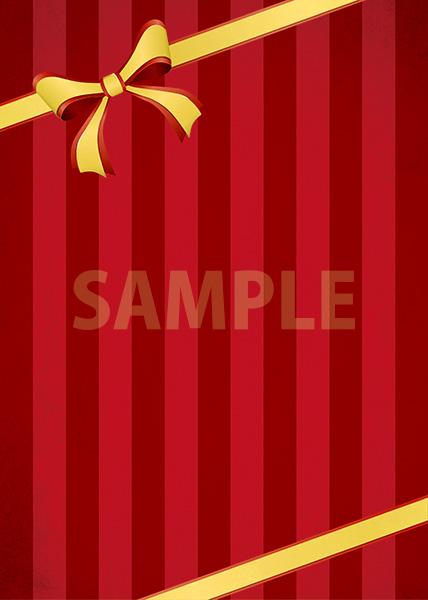 リボンが飾られた赤いストライプのA4サイズ背景素材