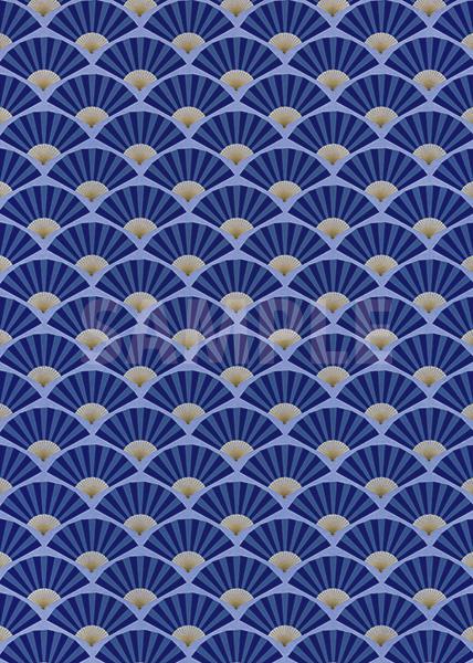 青い扇子が並ぶ和風A4サイズ背景素材