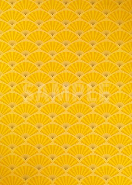 ゴールドの扇子が並ぶ和風A4サイズ背景素材