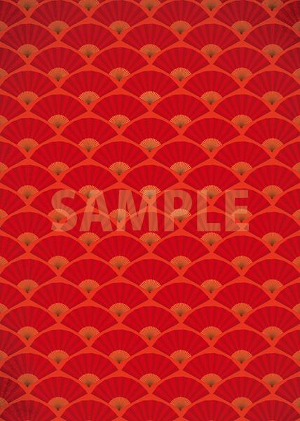 赤い扇子が並ぶ和風A4サイズ背景素材