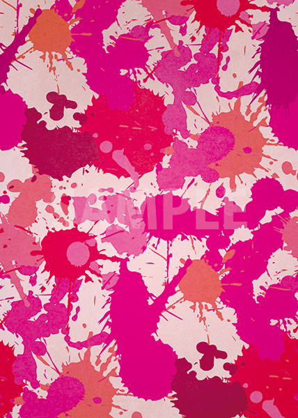 ピンク色のインクが飛び散るA4サイズ背景素材