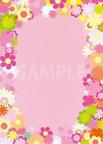 ピンク基調の花のイラストに囲まれたA4サイズ背景素材