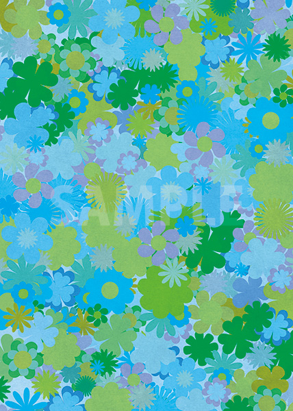 青い花のイラストが散らばるA4サイズ背景素材