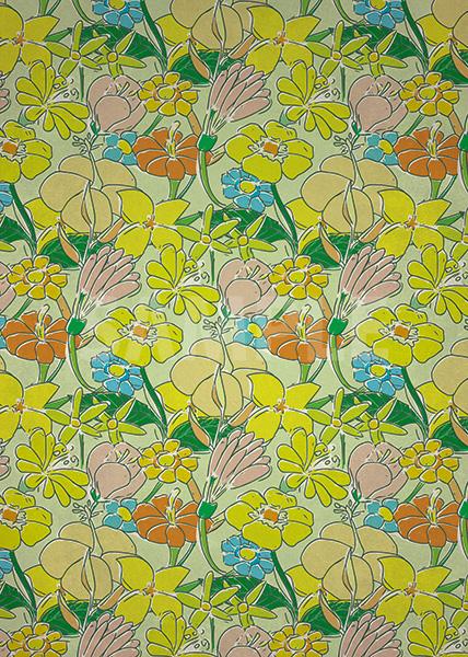 緑色の花のイラストのA4サイズ背景素材