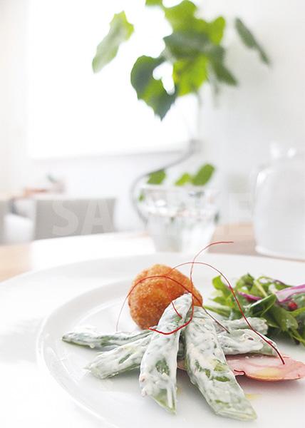爽やかな光に照らされる前菜のA4サイズ背景素材