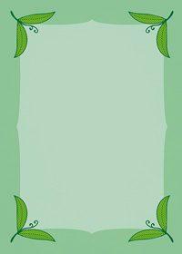 四隅に緑色の葉っぱのイラストが飾られたA4サイズ背景素材