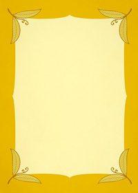 四隅に黄色い葉っぱのイラストが飾られたA4サイズ背景素材