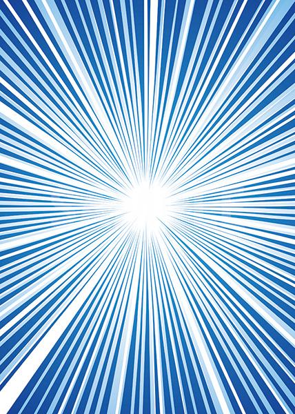 中央に集中する青い効果線のA4サイズ背景素材