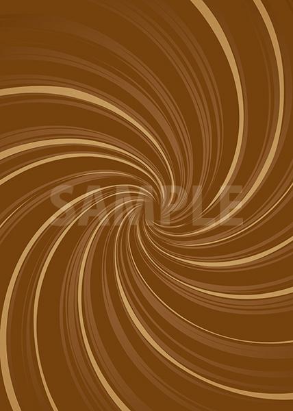 中央に渦巻状に集中する茶色の効果線A4サイズ背景素材