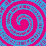 ピンク色の渦と集中線のA4サイズ背景素材