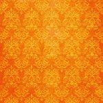 オレンジ色のダマスク柄壁紙のA4サイズ背景素材