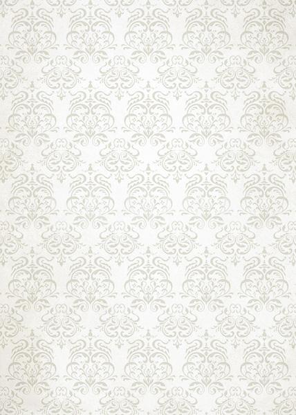 白色のダマスク柄壁紙のA4サイズ背景素材