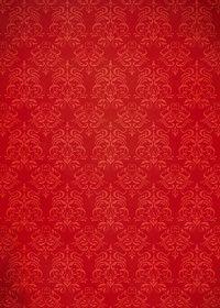 赤色のダマスク柄壁紙のA4サイズ背景素材