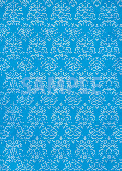 青色のダマスク柄壁紙のA4サイズ背景素材