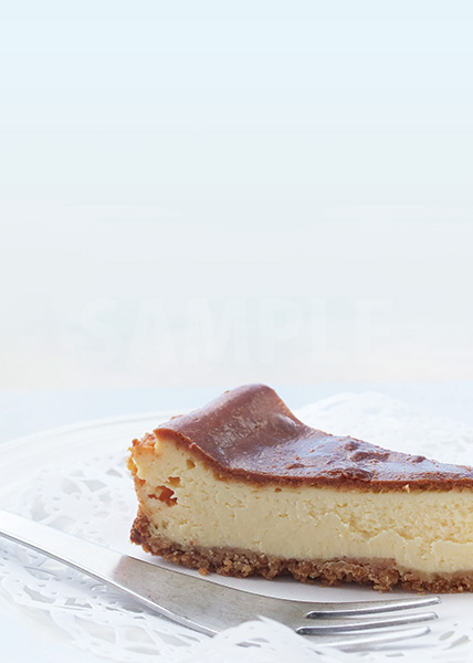 ベイクドチーズケーキのA4サイズ背景素材