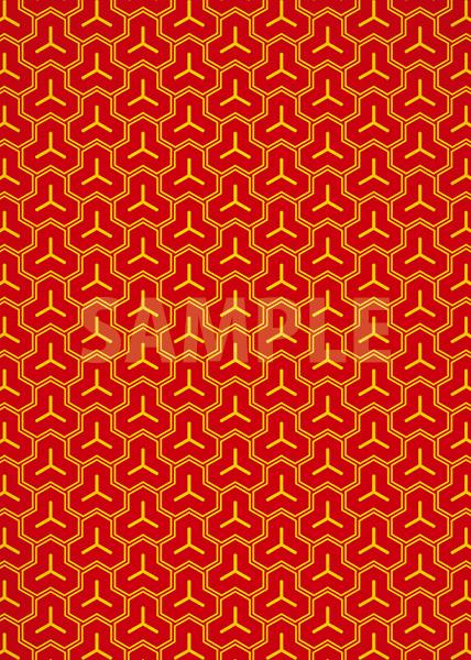 赤色の毘沙門亀甲・和柄のA4サイズ背景素材