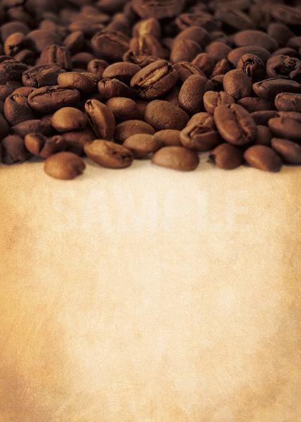 コーヒ豆が上部分に散らばる茶背景A4サイズ素材
