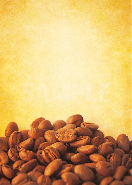 コーヒ豆が下部に散らばるA4サイズ黄色背景素材