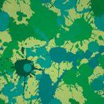 緑色のインクが飛び散るA4サイズ背景素材