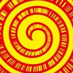 黄色の渦と集中線のA4サイズ背景素材