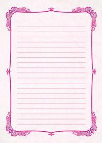 ピンク色のクラシックな飾り枠と罫線のA4サイズ背景素材