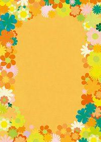 オレンジ基調の花のイラストに囲まれたA4サイズ背景素材