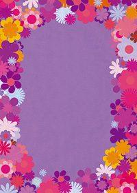 パープル基調の花のイラストに囲まれたA4サイズ背景素材