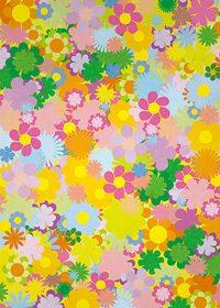 カラフルな花のイラストのA4サイズ背景素材