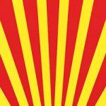 赤と黄色の下中央に向かう効果線、A4サイズ背景素材