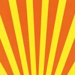 オレンジ色と黄色の下中央に向かう効果線、A4サイズ背景素材