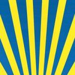 青と黄色の下中央に向かう効果線、A4サイズ背景素材