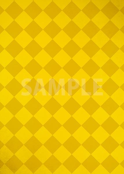 黄色のハーリキンチェック柄のA4サイズ背景素材