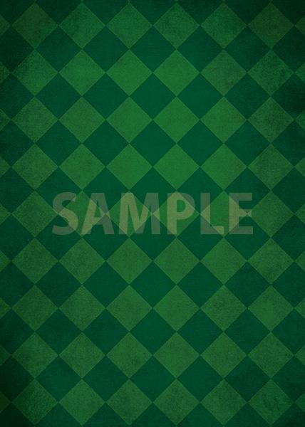 緑色のハーリキンチェック柄のA4サイズ背景素材