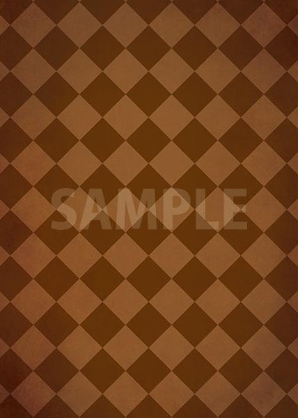 茶色のハーリキンチェック柄のA4サイズ背景素材